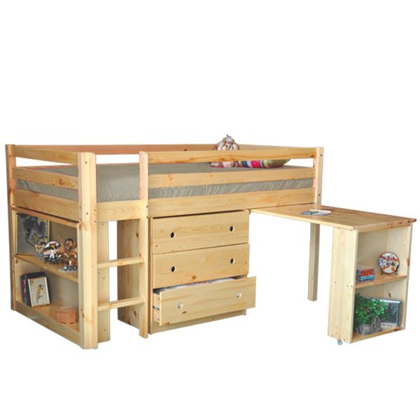 """This twin low loft bed is maximizing available space and great for sleep, study and storage. The ladder and desk can be assembled on either the left or right side. 3 drawer chest, pull out desk or bookcase can be sold separately or as a combo unit. Size: 78"""" x 42"""" x 45 1/2""""H. Made of Solid Pine. Mattress support consists of 13 slats."""