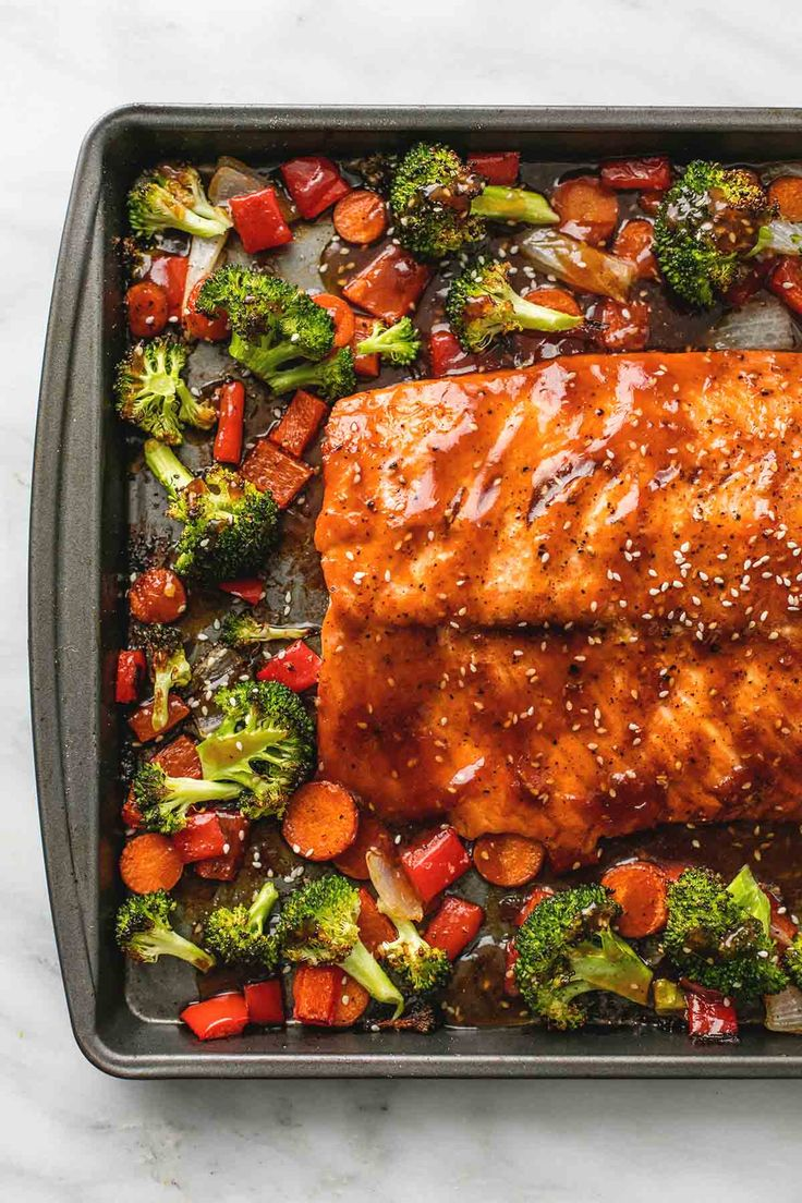 Easy and healthy one pan baked teriyaki salmon and vegetables is a quick 30 minute meal with hearty vegetables and a tasty homemade teriyaki sauce.
