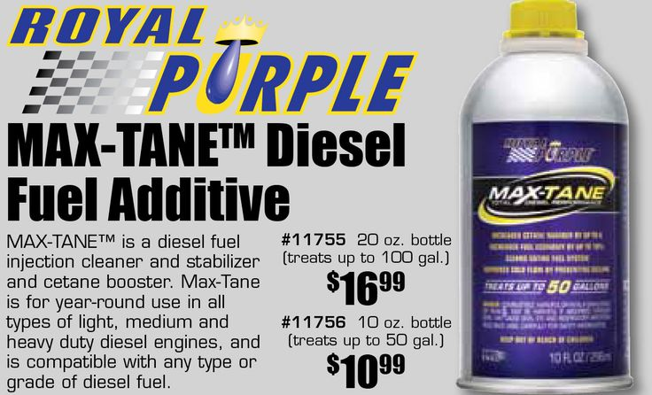 Own a diesel vehicle? Time to give it a good cleaning. We are offering 10% until  February 18, 2018.  MAX-TANE™ is a diesel fuel injection cleaner and stabilizer and cetane booster. Max-Tane is for year-round use in all types of light, medium and heavy duty diesel engines, and is compatible with any type or grade of diesel fuel.  #11755 20 oz. bottle (treats up to 100 gal.) $16.99  #11756 10 oz. bottle(treats up to 50 gal.) $10.99…
