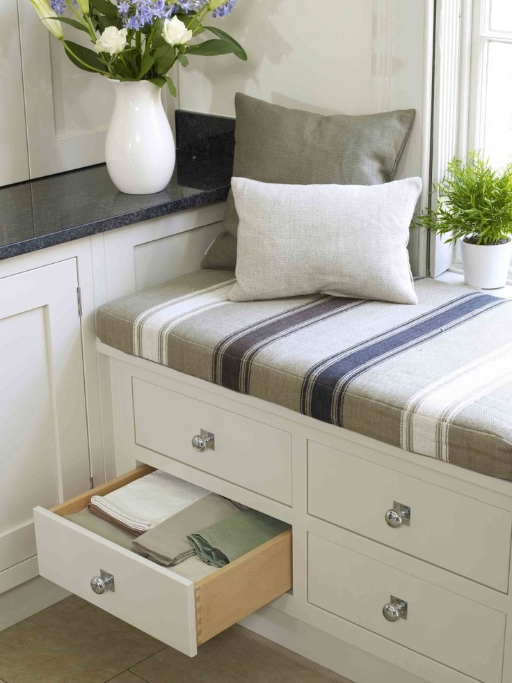 Interior, : Minimalist Design Ideas Using Grey Stripes Seat Covers And Rectangular White Wooden Window Bench Also With Rectangular White Wooden Cabinets