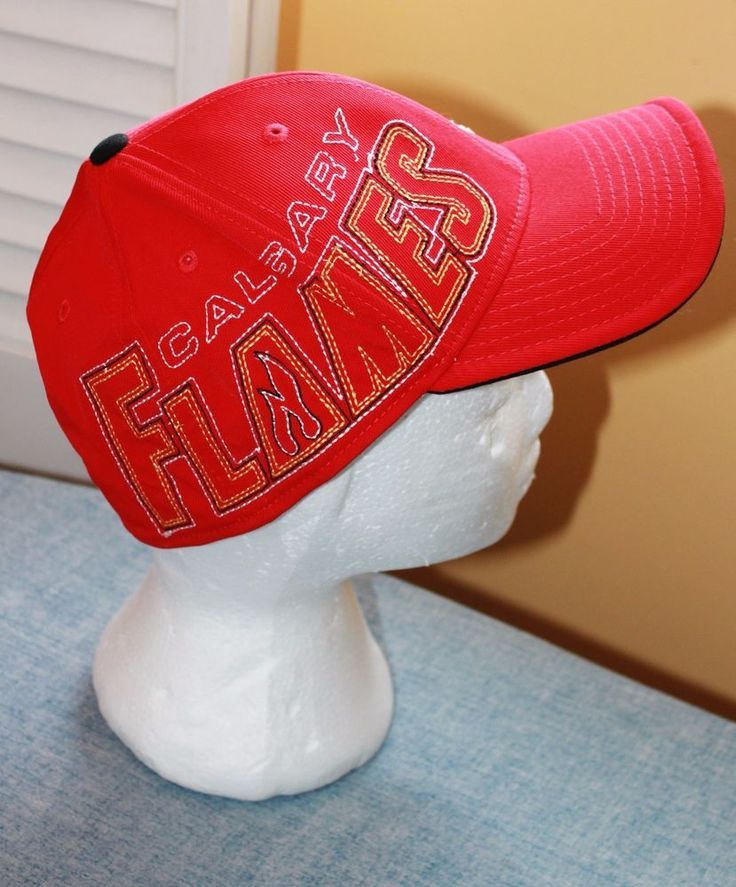 Calgary Flames Reebok NHL Hockey Fitted Red Embroidered Hat Cap L XL #Reebok #CalgaryFlames