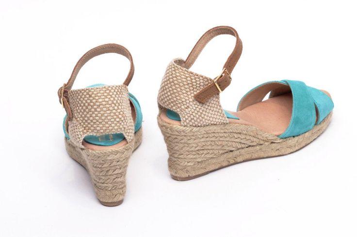 miMaO Esparto Jade - Sandalias mujer tacón cuña cómodo color verde piel ante yute- Comfort women's sandals heel wedge espadrilles pastel green suede leather