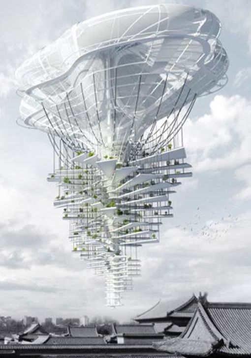 Light Park is a project of skyscraper which glides over the streets of Beijing as a huge airship. Imagined by the architects Ting Xu Chen Yiming, this unusual skyscraper is the result of the urban area of megastructures assembled to face the shortage of urban green spaces in Beijing.