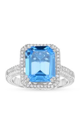 Belk  Co. Blue Topaz Genuine Blue Topaz Diamond Ring