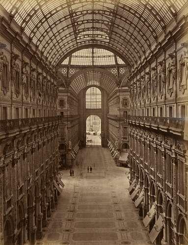 Giacomo Brogi, Milano, Galleria Vittorio Emanuele, ca 1870, Albumen print from glass plate negative