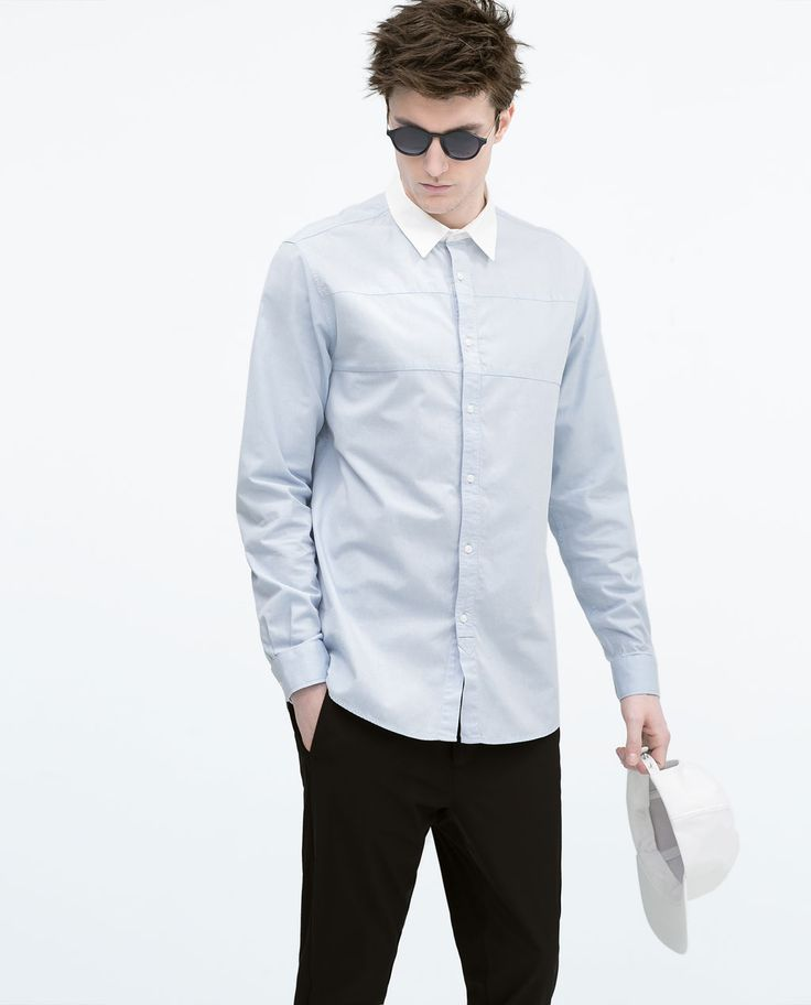 Image 2 of BLUE SHIRT WITH WHITE COLLAR from Zara