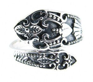 Ladies Ornate Traditional Spoon Style Cast Ring .925 Sterling Silver - Sizes 6-9