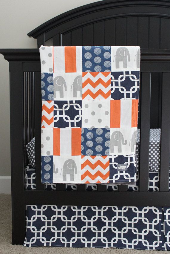 Hey, I found this really awesome Etsy listing at https://www.etsy.com/listing/194140158/custom-crib-bedding-navy-blue-orange-and