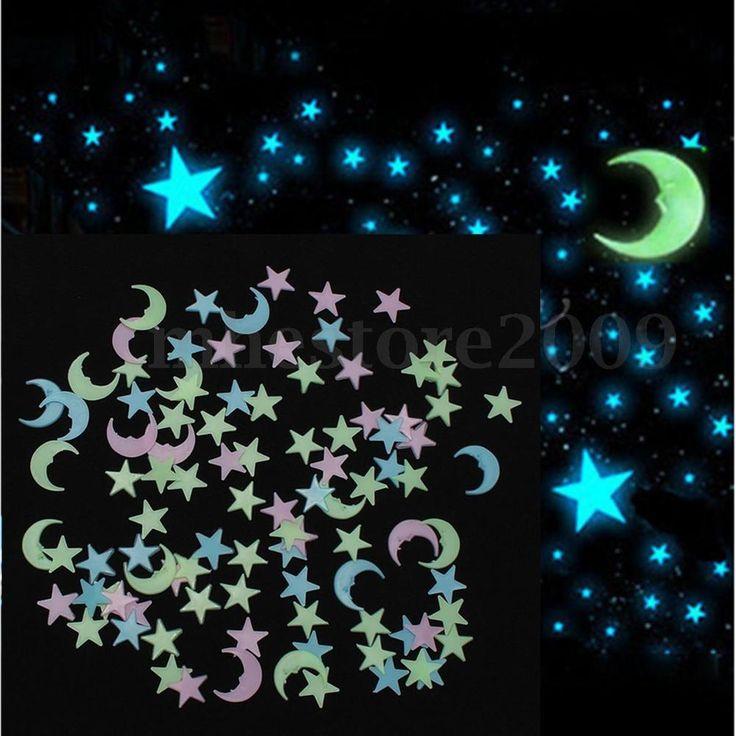 100pcs Stars 1 Moon 3D DIY Glow in the Dark Bedroom Wall Art Stickers Decor PVC