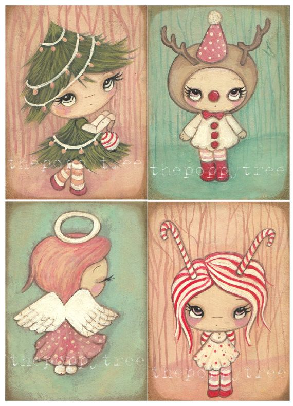 The Poppy Tree - Christmas Aceo Holiday Reindeer, Angel, Candy Cane, Tree Ornament Prints---All 4 Matte
