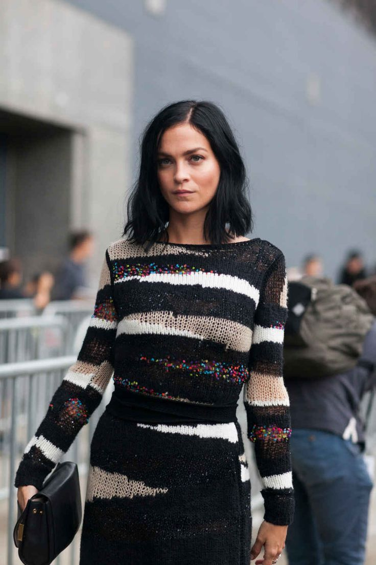 Striped Knits Make a Street Style Comeback on Day 4 of Fashion Week
