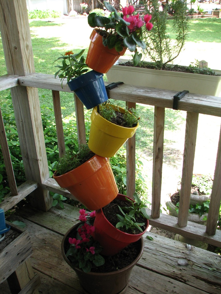 17 Best Ideas About Stacked Flower Pots On Pinterest Outdoor Flowers Outdoor Garden Decor And
