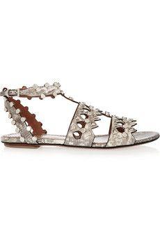 Alaïa Studded laser-cut lizard sandals | NET-A-PORTER