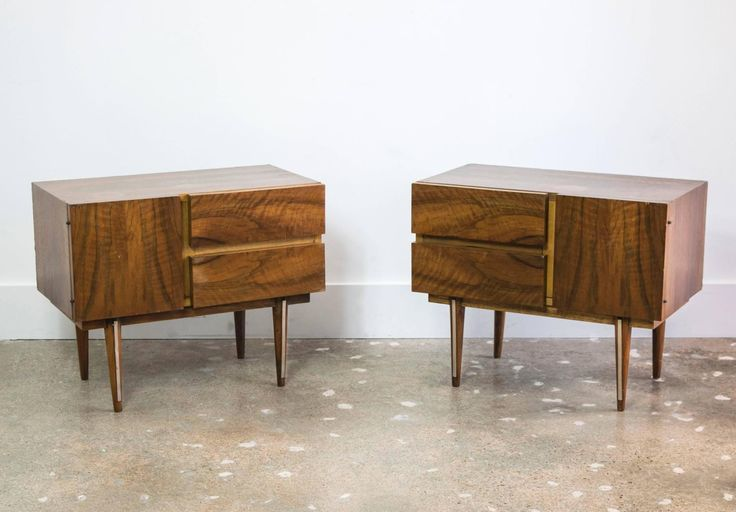 Pair of Rosewood and Brass Small Bedside Tables  image 3