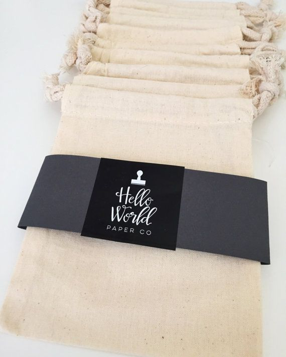 Muslin Bags, Plain Cotton Drawstring Pouch, Great for Wedding Favors, Jewelry Bags, Gift Bags, and Stamping!  Various Sizes - SET OF 10
