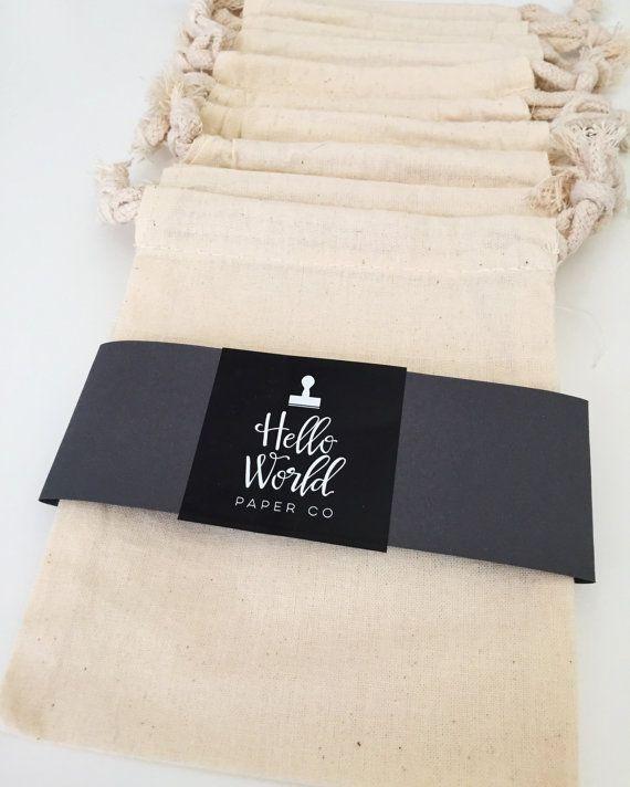 Mussola sacchetti sacchetto del cordone del di HelloWorldStamps