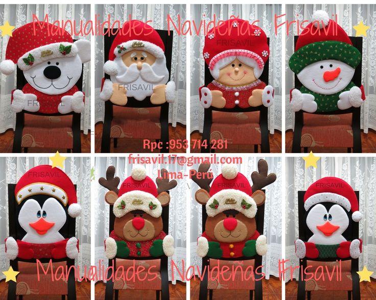 Cubresillas Caritas Navideñas  Frisavil Varias diseños a escoger al gusto del cliente