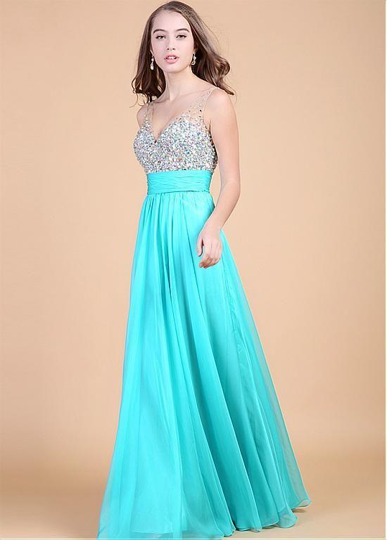 Gorgeous  V-neck Neckline Floor Length A-line Prom/Formal Dress