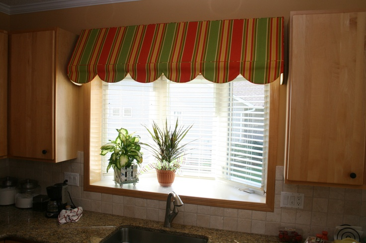 Awning Valance Mounted Even With Cabinet Line Curtains