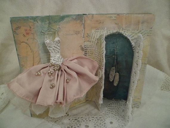 Assemblage book sculpture From Paper and Fabric   by MesssieJessie