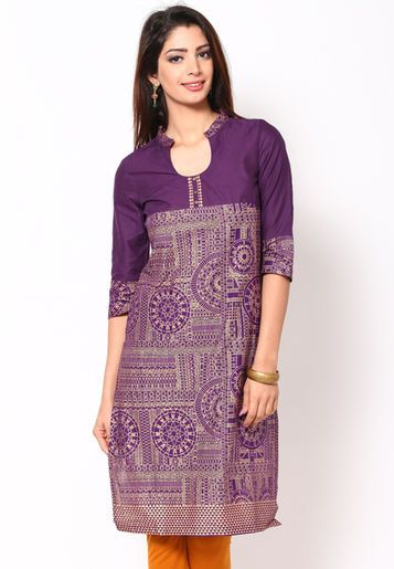 Purple Solid 100 Cotton Kurta by ShopOfIndia on Etsy, $54.99 http://www.fancyclone.net