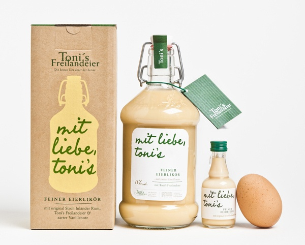 Toni's is an Austrian organic egg brand owned and run by Toni Freilandeier. As part of an increasing product diversification – with eggs still firmly at the core - brand and strategic design agency Moodley recently developed the packaging for Toni's Eierlikoer, a vanilla and egg liqueur in a flip-top bottle and packed in an uncoated, unbleached box with a screen-printed finish.