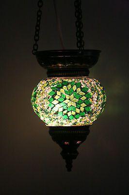 Turkish Medium Hanging Green Mosaic Pendant Tea Light Holder