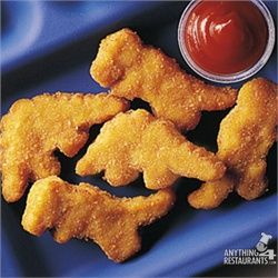 dinosaur chicken nuggets!  Perfect for a snack item at his party :)