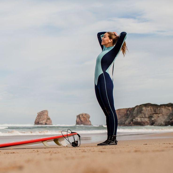 Dámská surfařská kombinéza 100 4/3 mm modrá