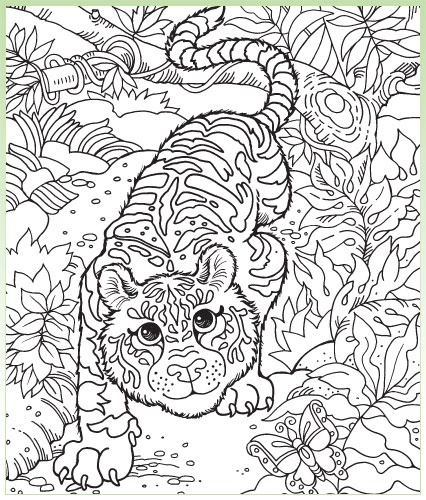 free printable hidden pictures are coloring pages with smaller pictures hidden within such as a shoe mug and duck in this image of a tiger