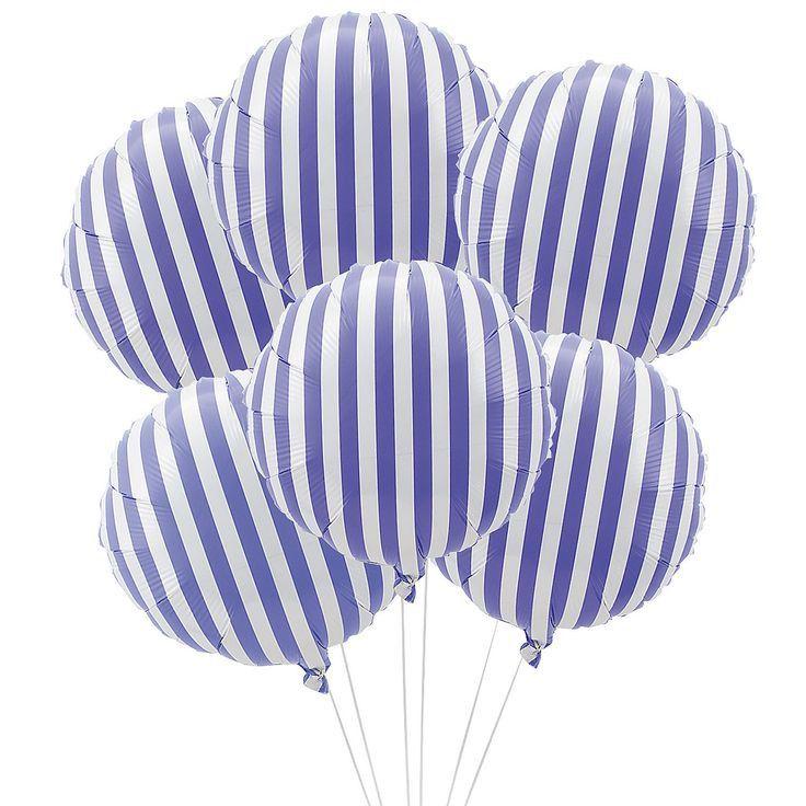 Purple Stripe Mylar Balloons | 6 ct