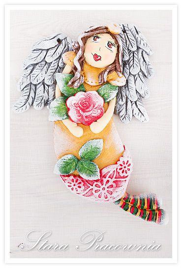 Różany aniołek z masy solnej :-)