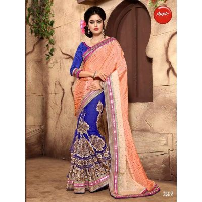 Pretty Crepe Designer Saree With Saree :- Pallu-Catonic * Nylon Crape Skirt-Nylon Net, Blouse-Dhupian