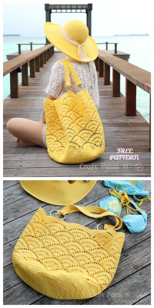 Crochet Shell Sew Sac fourre-tout gratuit Crochet Sample #
