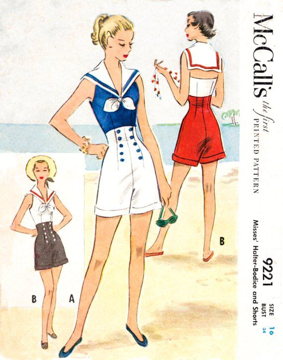 Vintage sewing pattern 1950s 1960s romper playsuit vintage pattern ...