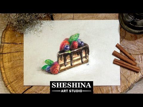 How to draw а chocolate cake and berries with soft pastels 🎨 Speed Painting | Sheshina Ekaterina - YouTube