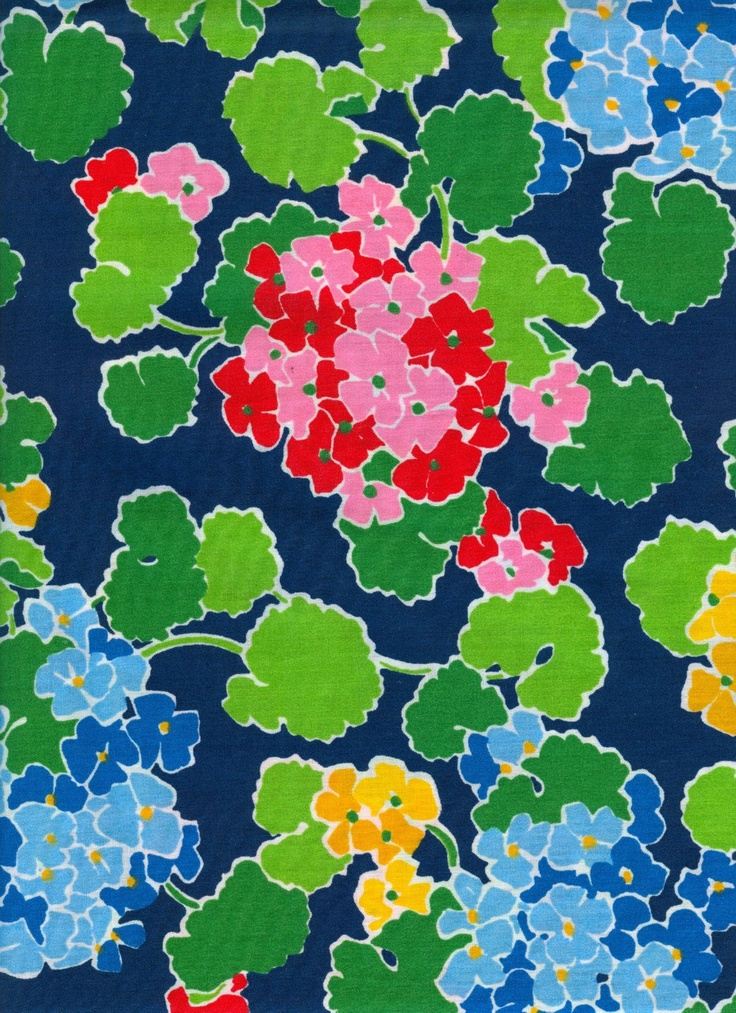 Vintage Hydrangea Fabric Bold and Bright #naturalcurtaincompany #fabricinspiration