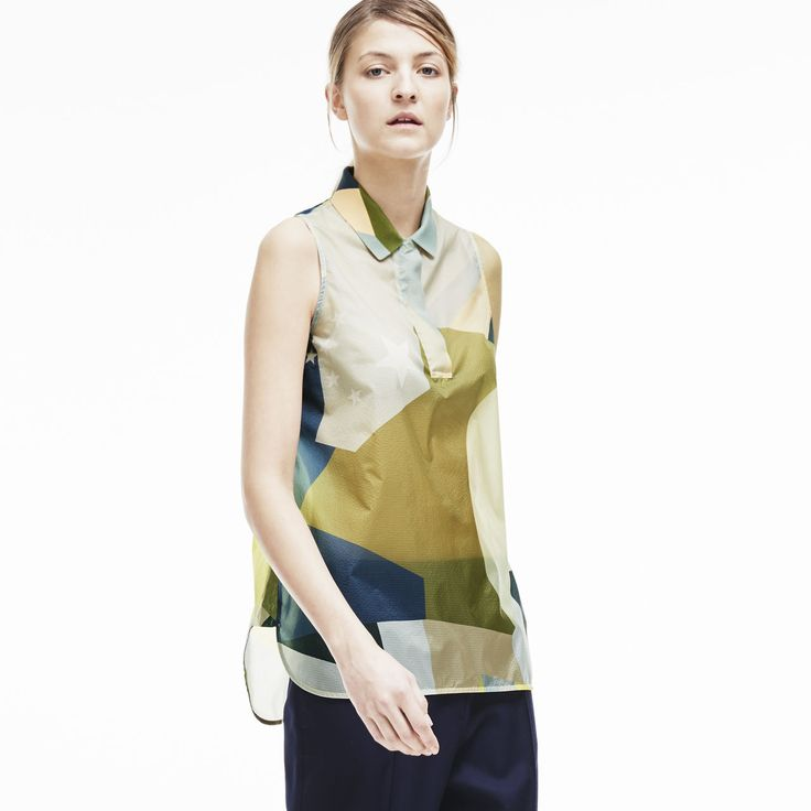 Fashion show sleeveless color block top