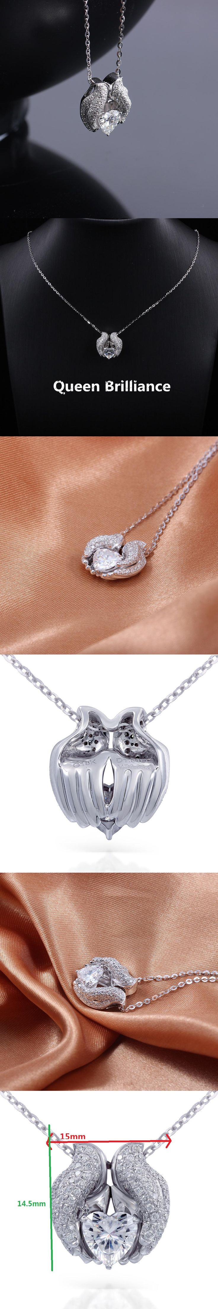 1ctw Heart Cut Lab Grown Moissanite Diamond Floating Pendant Necklace Genuine 18K 750 White Gold Fine Jewerly Choker For Women