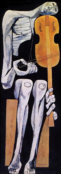 Oswaldo Guayasamín ~ El Violinista (The Violinist), 1967 (oil on canvas)  [requiem for a gun-crazy country]