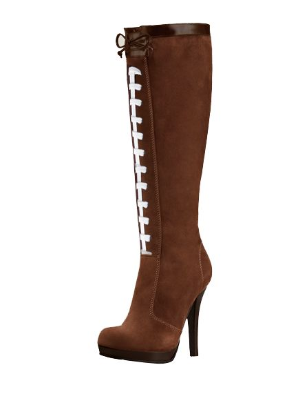 Try these on for size! Pigskin football high heel boots. These football boots are not only comfortable, but allow you to represent your football teams in style.