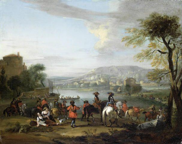 Circle of Christian Reder (Leipzig 1656-1729 Rome) Horsemen departing from a riverside village