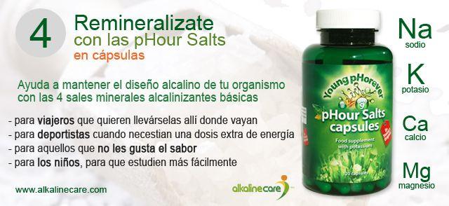 Las pHour Salts son una potente combinación de 4 sales alcalinizantes (sodio, potasio, calcio y magnesio) que ayudan a tu organismo a recuperar su diseño alcalino. Disponibles ya en cápsulas! http://blog.alkalinecare.com/2014/09/16/remineralizate-y-alcalinizate-con-las-phour-salts-en-capsulas/