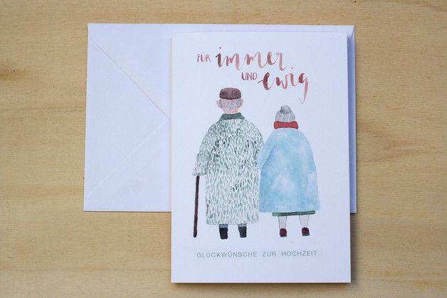 """Hochzeitskarte """"immer & ewig"""" Aquarell Lettering – Hochzeit – Grußkarten – Mit … – Karten"""