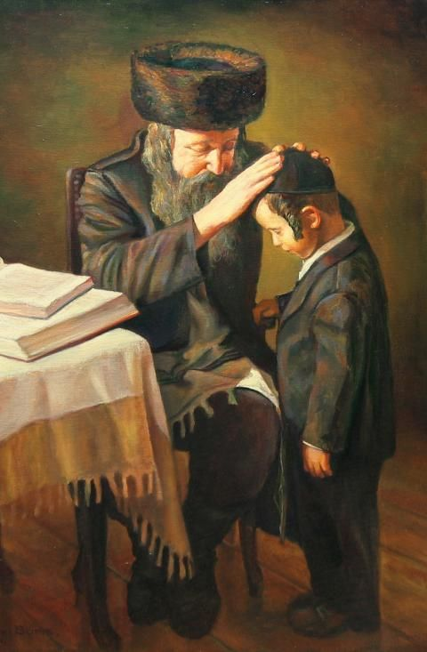 Shabbat Blessing - Boris Dubrov    oil on canvas    Sized 90x120 cm.    2008    Father blesses his son on the night of Shabbat