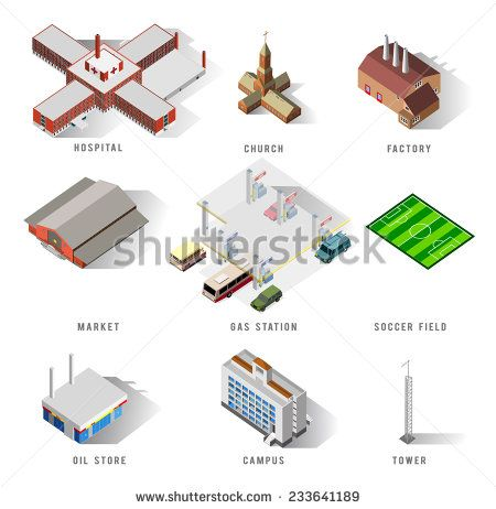 awesome vector #architect #building #isometric #popular #structure #map #world #game #fun #detailed #3d #vector #illustration #business #icon #home #gasoline #church #factory #soccer #ware #gasstation