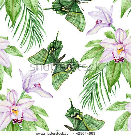 Pale pink orchids and green butterflies background. Exotic flowers. Seamless, hand painted, watercolor pattern. Good texture for textiles, wrappers.