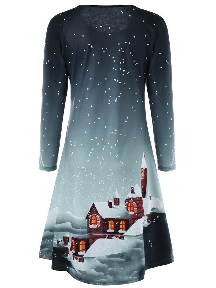 Christmas Plus Size Graphic Long Sleeve Tee Dress - GREEN GREY XL