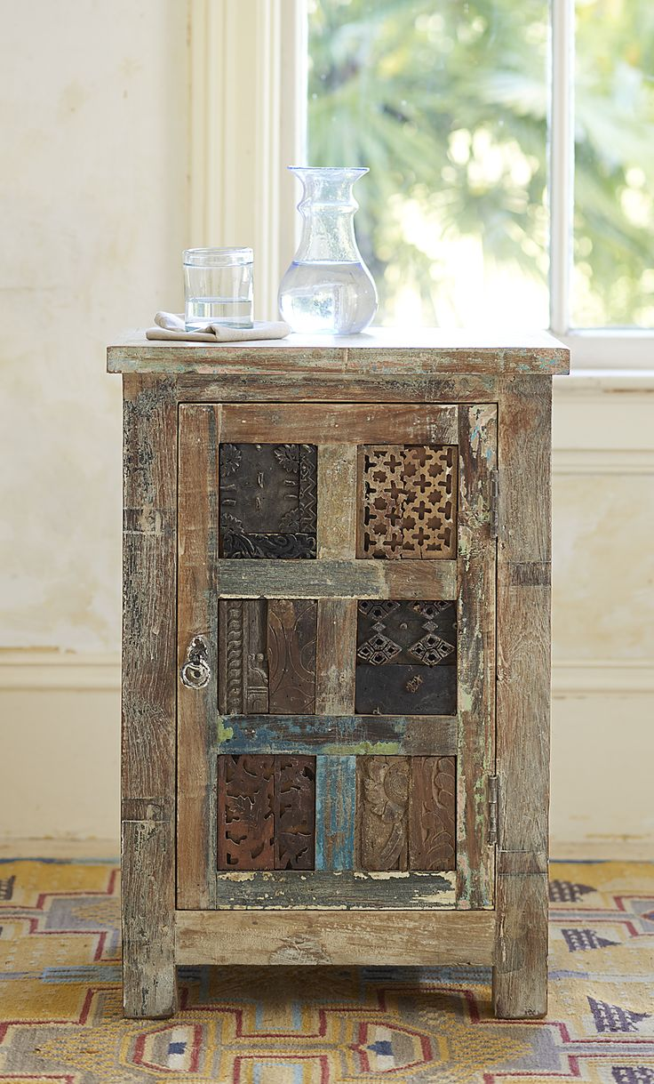 One-Of-A-Kind Carved Cabinet - reclaimed wood Carved Door Cabinet