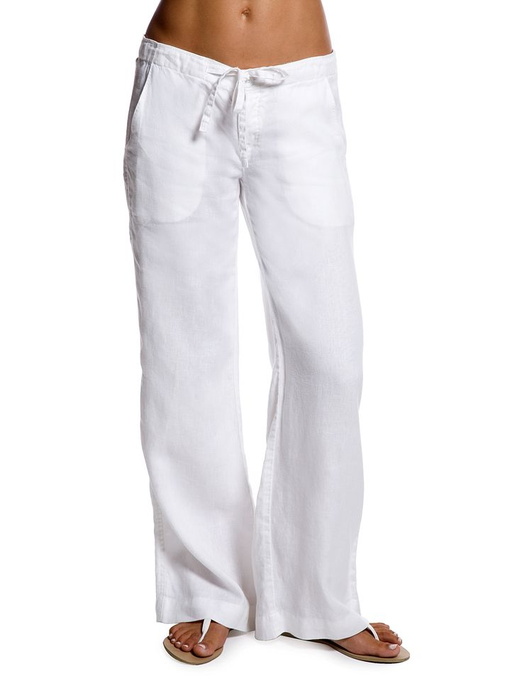 White Relaxed Linen Pants for Women's Resort Wear from Island Company! $115